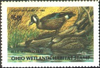 Ohio Duck Stamp 1987 Blue - Winged Teal