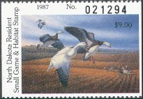 North Dakota Duck Stamp 1987 Snow Geese Hunter type