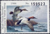 North Dakota Duck Stamp 1984 Canvasbacks