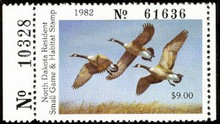 North Dakota Duck Stamp 1982 Canada Geese Hunter type with serial number