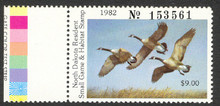 North Dakota Duck Stamp 1982 Canada Geese Extra Fine with Gate Color Test Strip XF