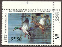 North Carolina Duck Stamp 1983 through 2002 Matching # plate # singles