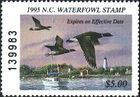 North Carolina Duck Stamp 1995 Brant / Lighthouse