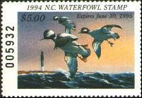 North Carolina Duck Stamp 1994 Buffleheads / Lighthouse
