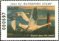 North Carolina Duck Stamp 1993 Tundra Swans / Lighthouse