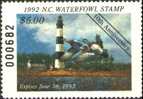 North Carolina Duck Stamp 1992 American Wigeons / Lighthouse