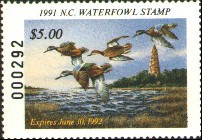 North Carolina Duck Stamp 1991 Blue - Winged Teal / Lighthouse