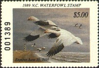 North Carolina Duck Stamp 1989 Snow Geese / Lighthouse