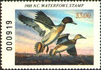 North Carolina Duck Stamp 1988 Green - Winged Teal