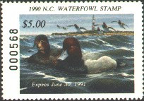 North Carolina Duck Stamp 1990 Redheads / Lighthouse