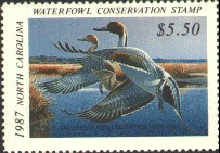North Carolina Duck Stamp 1987 Pintails