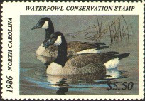 North Carolina Duck Stamp 1986 Canada Geese