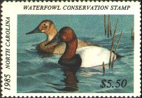 North Carolina Duck Stamp 1985 Canvasbacks