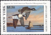 New York Duck Stamp 1999 Buffleheads / Lighthouse