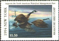 New York Duck Stamp 1994 Canada Geese / Lighthouse