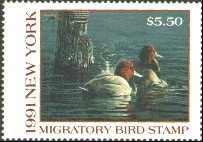 New York Duck Stamp 1991 Redheads