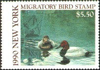 New York Duck Stamp 1990 Canvasbacks