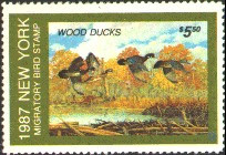 New York Duck Stamp 1987 Wood Ducks
