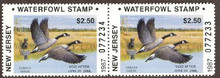 New Jersey Duck Stamp 1987 Canada Geese Booklet Hunter Pair Perforated on Sides