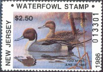 New Jersey Duck Stamp 1986 Pintails Resident
