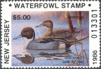 New Jersey Duck Stamp 1986 Pintails Non- Resident