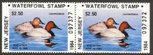 New Jersey Duck Stamp 1984 Canvasbacks Booklet Pair