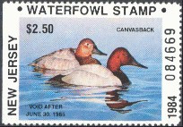 New Jersey Duck Stamp 1984 Canvasbacks Resident Hunter