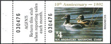New Hampshire Duck Stamp 1992 Ring - Necked Ducks Hunter type with full tab