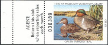 New Hampshire Duck Stamp 1990 Green - Winged Teal Hunter type with full tab