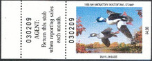 New Hampshire Duck Stamp 1988 Buffleheads Hunter type with full tab