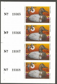 Nevada Duck Stamp 1979 Canvasback / Decoy Full Pane of 4 Stamps