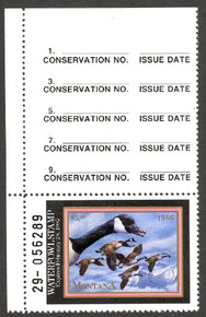 Montana Duck Stamp 1986 Canada Geese Top Single Hunter NO STAPLE HOLES in Selvage. We believe only 1 may exist.