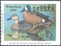Missouri Duck Stamp 1983 Blue - Winged Teal