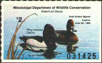 Mississippi Duck Stamp 1987 Ring - Necked Ducks