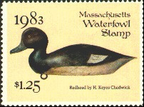 Massachusetts Duck Stamp 1983 Redhead Stamp portrays decoy