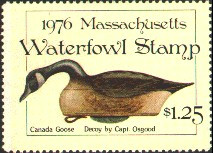 Massachusetts Duck Stamp 1976 Canada Goose Stamp portrays decoy