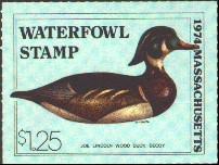 Massachusetts Duck Stamp 1974 Wood Duck Stamp portrays decoy