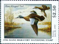 Maine Duck Stamp 1996 Blue - Winged Teal