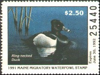 Maine Duck Stamp 1991 Ring - Necked Duck