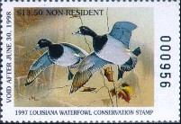Louisiana Duck Stamp 1997 Ring - Necked Duck Non Resident