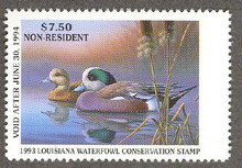 Louisiana Duck Stamp 1993 American Wigeon Non Resident with out serial number