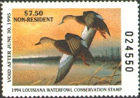 Louisiana Duck Stamp 1994 Mottled Duck Non Resident