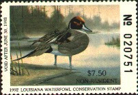 Louisiana Duck Stamp 1992 Pintails Non Resident