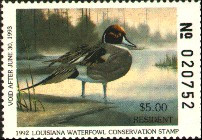 Louisiana Duck Stamp 1992 Pintails Resident