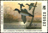 Louisiana Duck Stamp 1991 Wood Ducks Non Resident