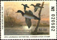 Louisiana Duck Stamp 1991 Wood Ducks Resident