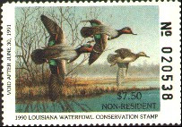 Louisiana Duck Stamp 1990 Green - Winged Teal Non Resident