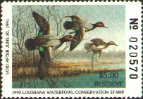 Louisiana Duck Stamp 1990 Green - Winged Teal Resident