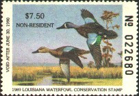 Louisiana Duck Stamp 1989 Blue - Winged Teal Non Resident