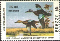 Louisiana Duck Stamp 1989 Blue - Winged Teal Resident
